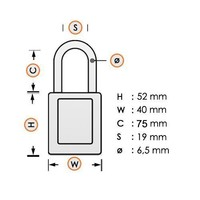 Aluminum safety padlock with back cover 58980
