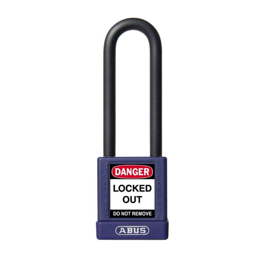 Aluminium veiligheidshangslot met paarse cover 58986