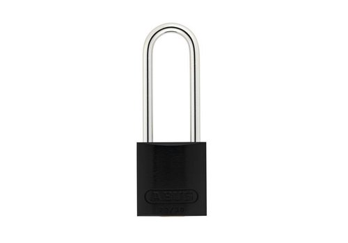 Anodized aluminium safety padlock black 72/30HB50 SCHWARZ