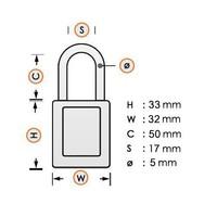 Anodized aluminium safety padlock brown 72/30HB50 BRAUN