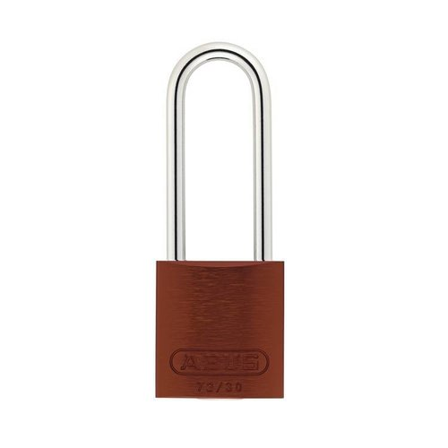 Anodized aluminium safety padlock brown 72/30HB50 BRAUN