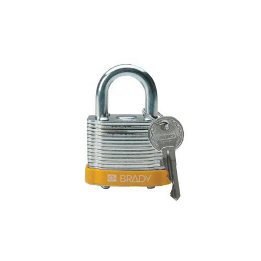 Gelamineerd stalen veiligheidshangslot geel 814089