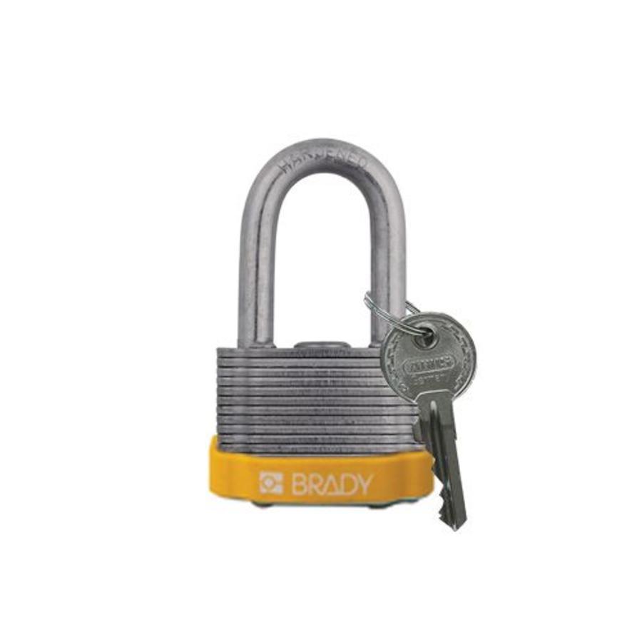 Gelamineerd stalen veiligheidshangslot geel 814098