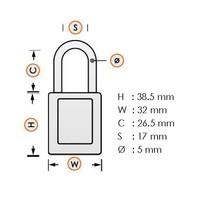 Geanodiseerd aluminium veiligheidshangslot geel 72IB/30 GELB