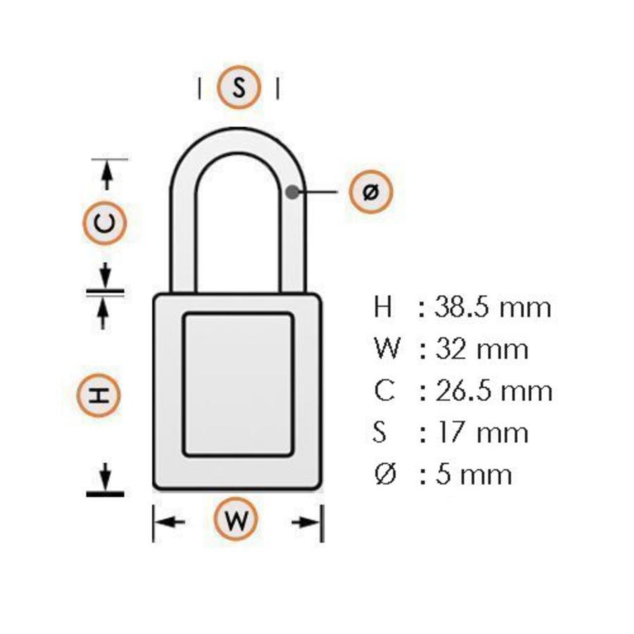 Geanodiseerd aluminium veiligheidshangslot geel 72/30 GELB