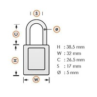 Anodized aluminium safety padlock brown 72/30 BRAUN