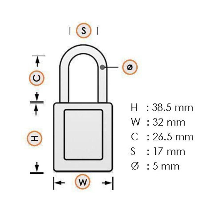 Geanodiseerd aluminium veiligheidshangslot bruin 72/30 BRAUN