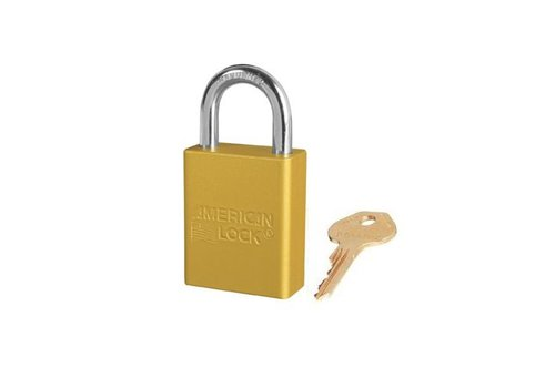 Anodized aluminium safety padlock yellow S1105YLW