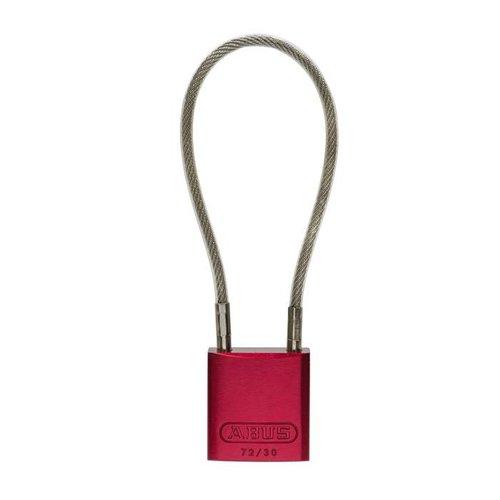 Sicherheitsvorhängeschloss aus eloxiertes Aluminium rot mit Kabelbügel 72/30CAB ROT