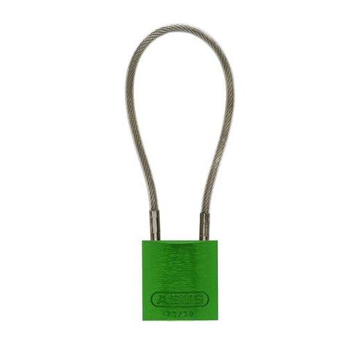 Sicherheitsvorhängeschloss aus eloxiertes Aluminium grün mit Kabelbügel 72/30CAB GRÜN
