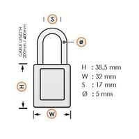 Geanodiseerd aluminium veiligheidshangslot geel met kabel 72/30CAB GELB