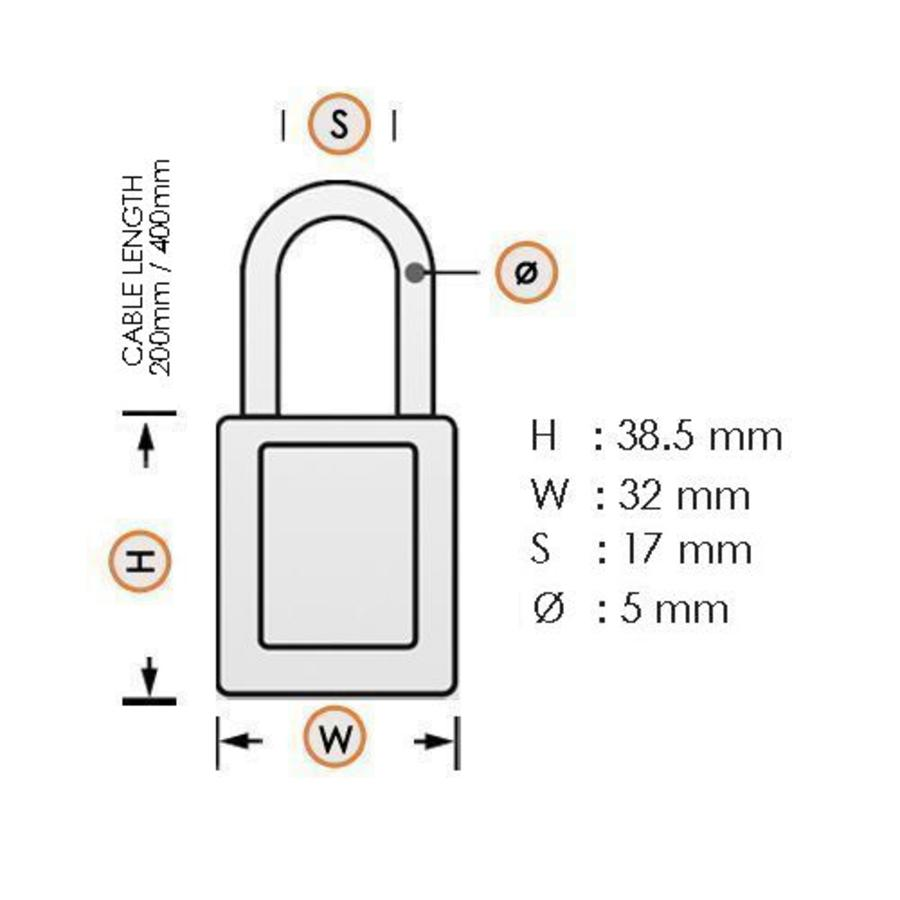 Sicherheitsvorhängeschloss aus eloxiertes Aluminium schwarz mit Kabelbügel 72/30CAB SCHWARZ