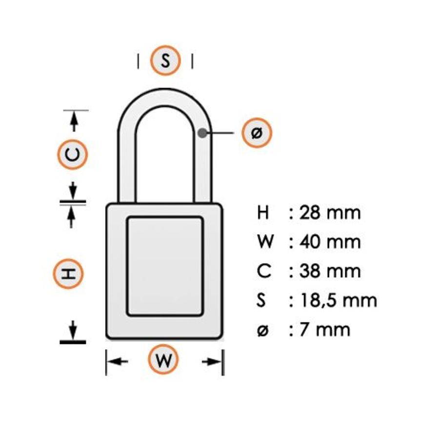 Gelamineerd stalen veiligheidshangslot wit 814103