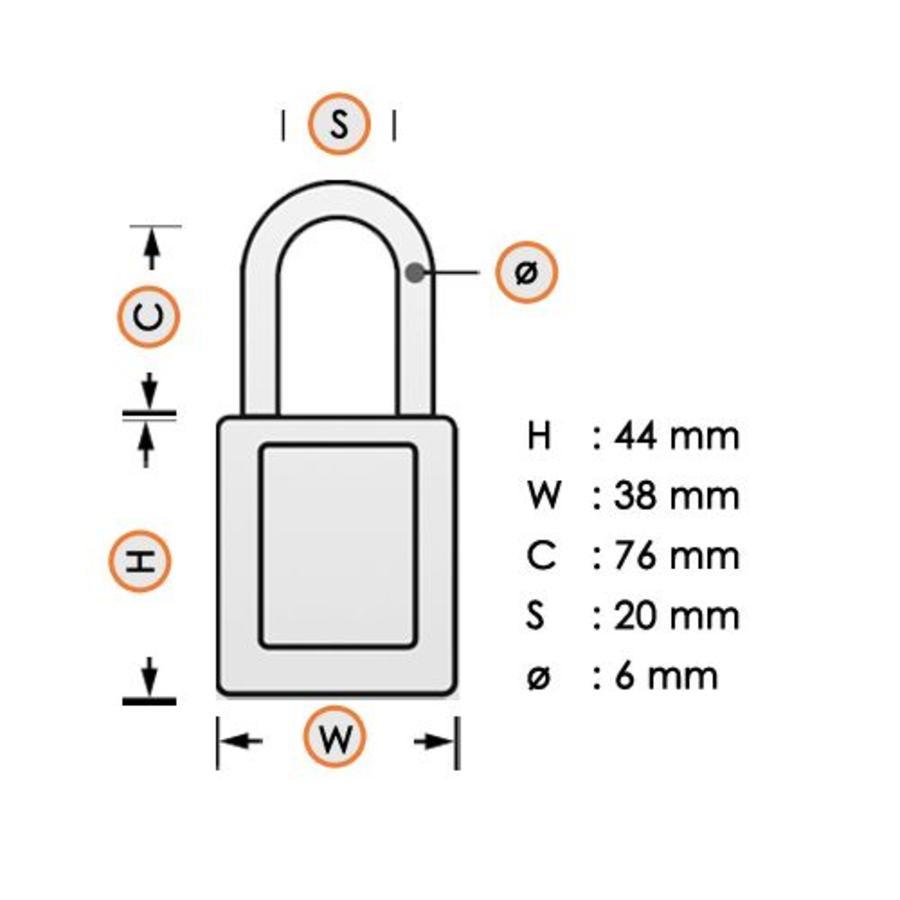 Zenex veiligheidshangslot geel 410LTYLW