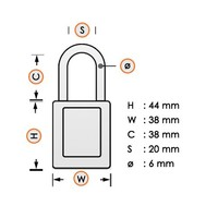 Zenex veiligheidshangslot oranje 406ORJ, 406KAORJ