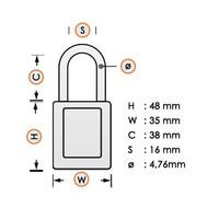 Zenex veiligheidshangslot geel S33YLW - S33KAYLW