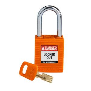 Brady SafeKey nylon safety padlock black orange 150320 / 150364