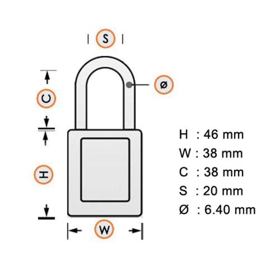 SafeKey nylon Sicherheits-vorhängeschloss weiß 150367 / 1502922