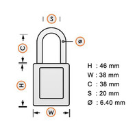 SafeKey nylon safety padlock yellow 150232 / 150265
