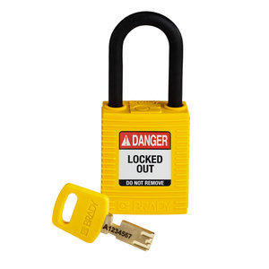 Brady SafeKey nylon safety padlock yellow 150232 / 150265