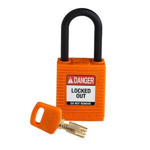 Brady SafeKey nylon safety padlock black orange 150230 / 150310