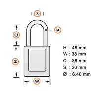SafeKey Aluminium safety padlock Orange 150263