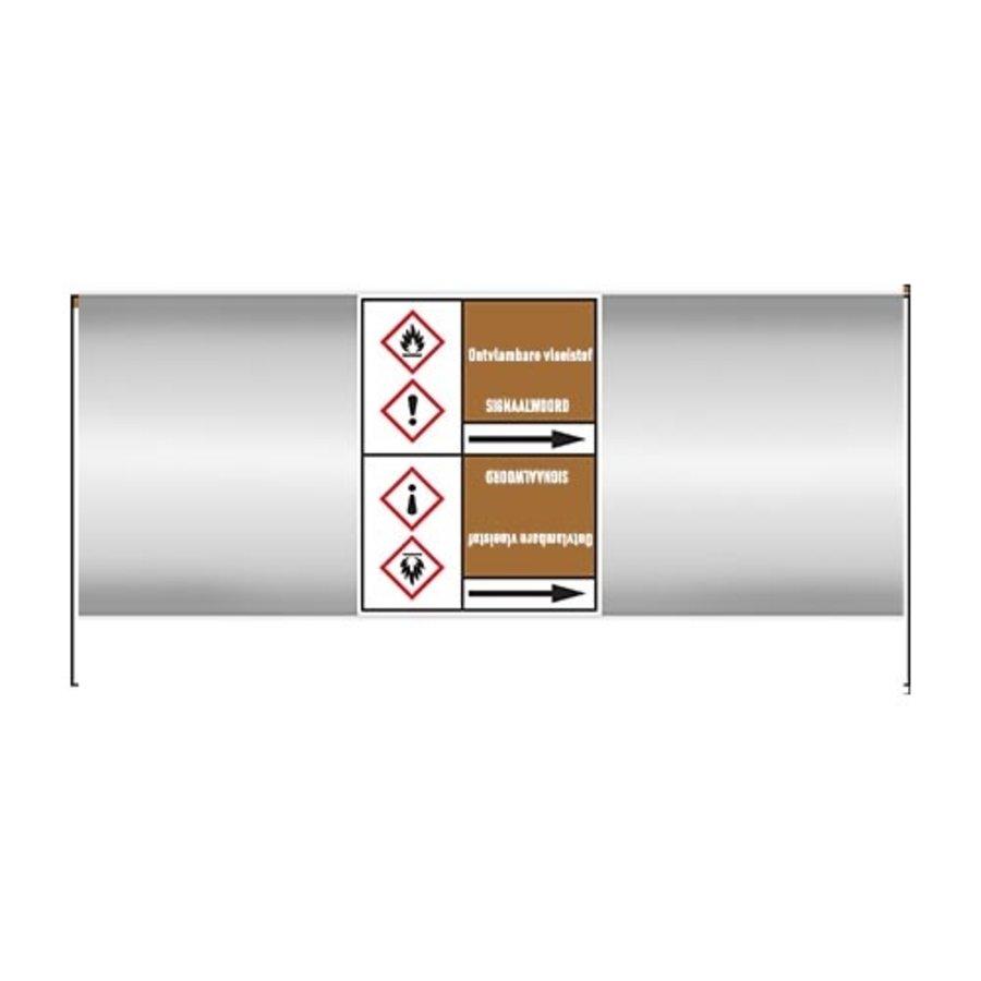 Pipe markers: Benzaldehyde   Dutch   Flammable liquids