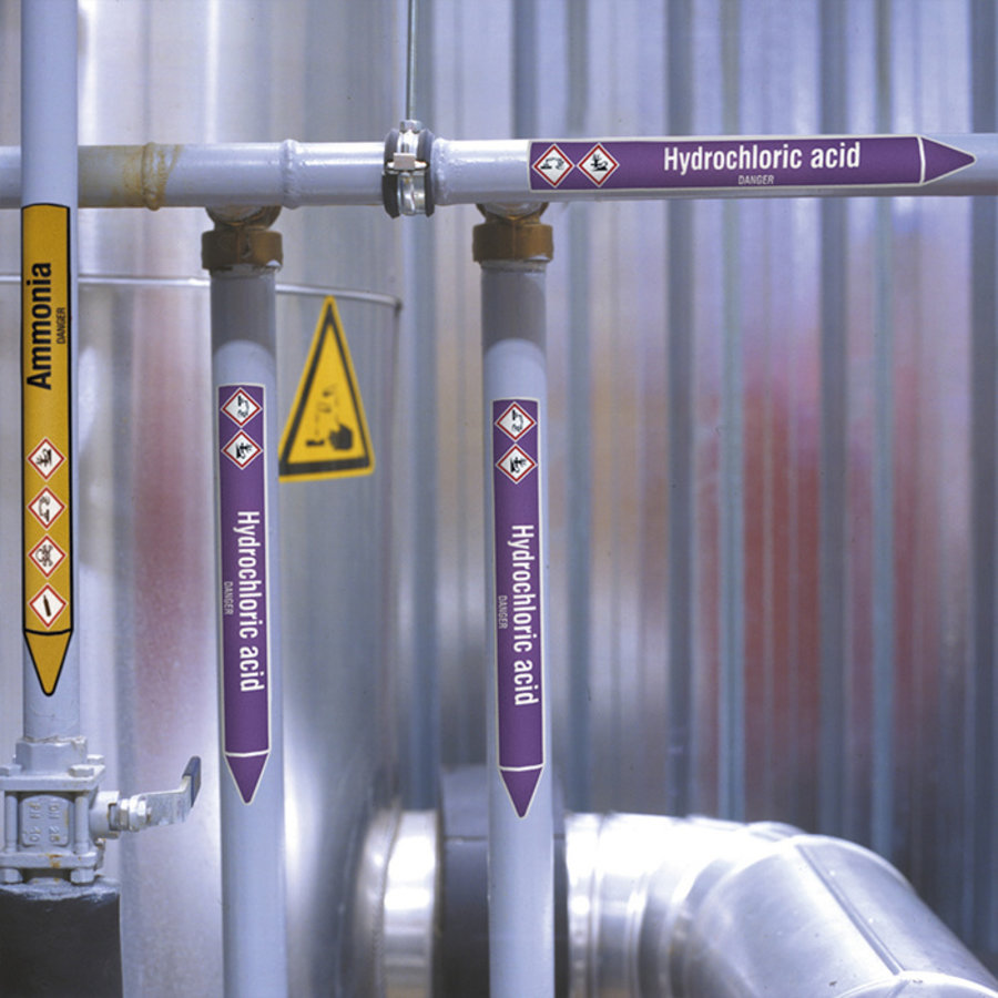 Pipe markers: Detergent | Dutch | Flammable liquid