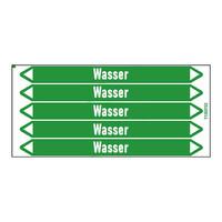 Pipe markers: Heißwasserheizung Vorlauf | German | Water