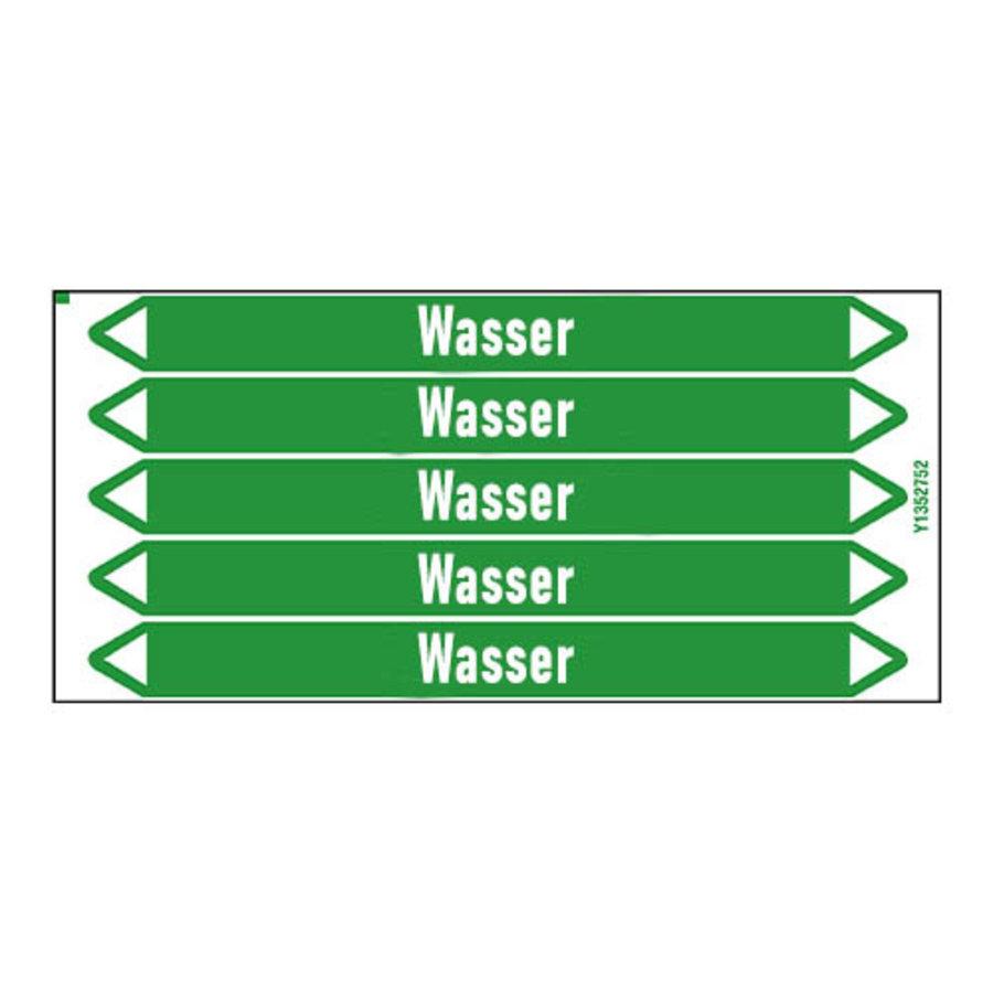 Pipe markers: Heizung Vorlauf Klima | German | Water
