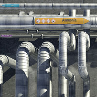 Pipe markers: Ammoniak 99% | Dutch | Alkalis