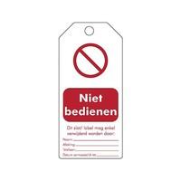 """Herschrijfbare PVC veiligheidstags Nederlands """"Niet bedienen"""""""