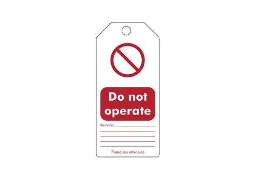 "Wiederbeschreibbare Sicherheitsanhänger Englisch ""Do not operate"" 307665"