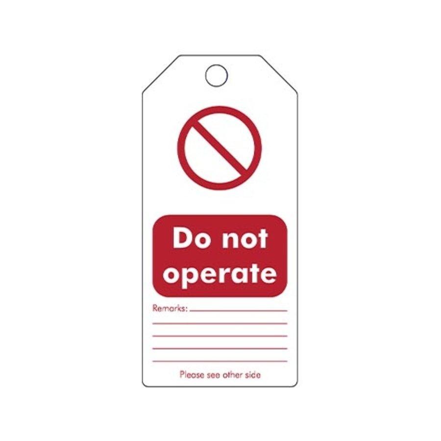 """Herschrijfbare PVC veiligheidstags Engels """"Do not operate"""""""