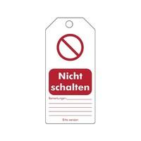 "Herschrijfbare PVC veiligheidstags Duits ""Nicht schalten"""