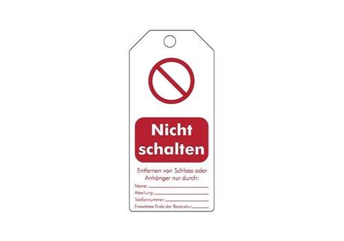 """Rewritable Safety tags German """"Nicht schalten"""" 307666"""