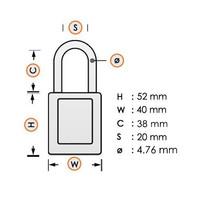 Aluminium veiligheidshangslot met gele cover 84782