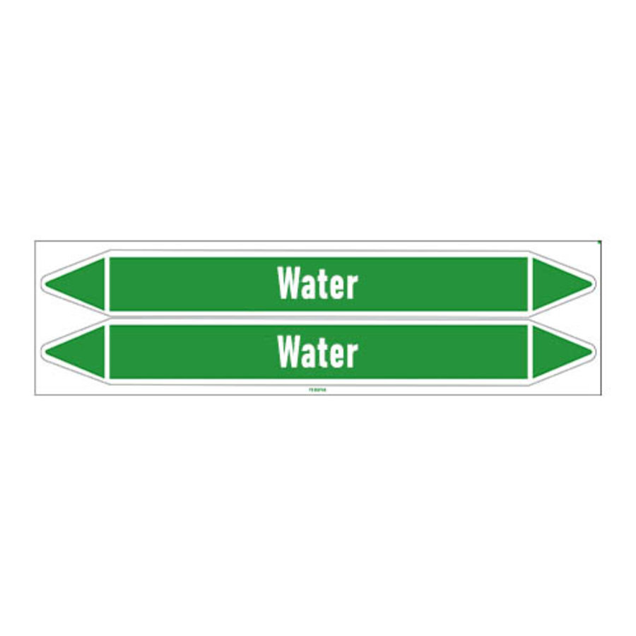 Pipe markers: Heating hot water | English | Water