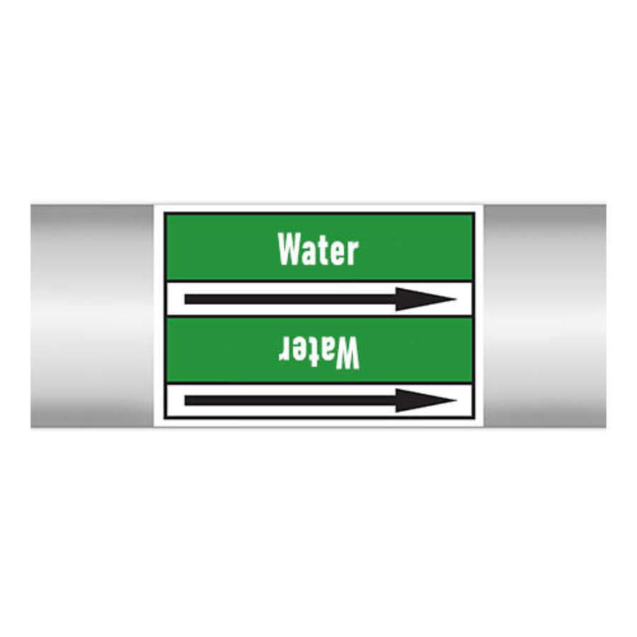 Pipe markers: Hot water 45°C | English | Water