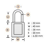 Aluminium veiligheidshangslot met gele cover 84769