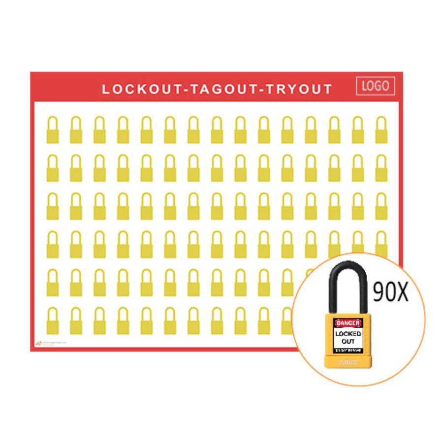 Lockout shadow board incl. Abus  74/40  Safety padlocks