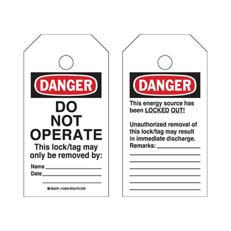 "Afscheurbare Veiligheidstags ""Do Not Operate"" op rol"