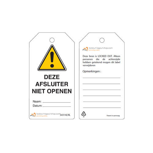 Herschrijfbare veiligheidstags Nederlands Guardian Extreme