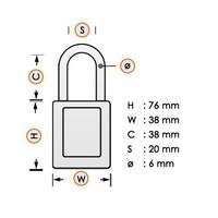 Zenex veiligheidshangslot geel 411YLW - 411KAYLW