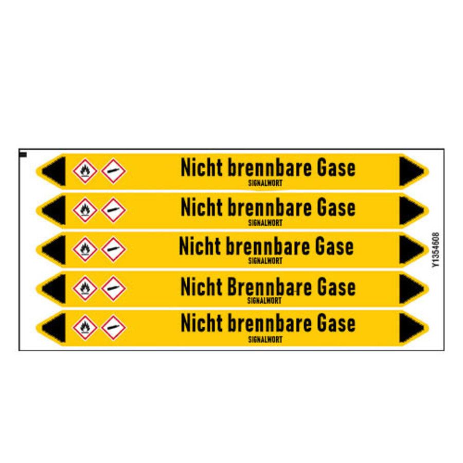 Rohrmarkierer: Chlor Rücklauf | Deutsch | Nicht brennbare Gase