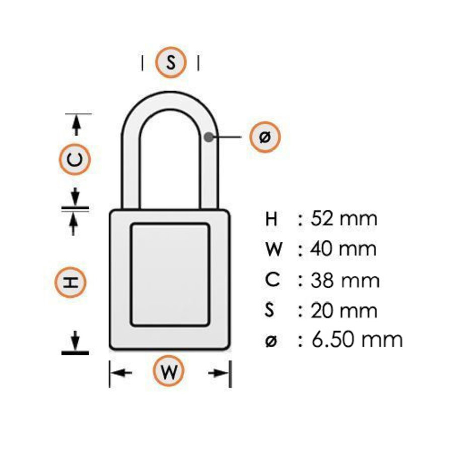 Aluminium veiligheidshangslot met witte cover 84774
