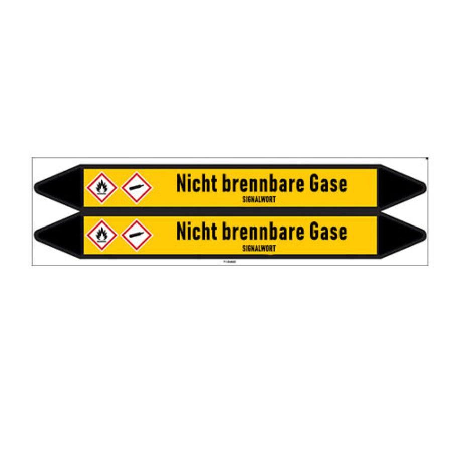 Leidingmerkers: Lachgas | Duits | Niet brandbare gassen