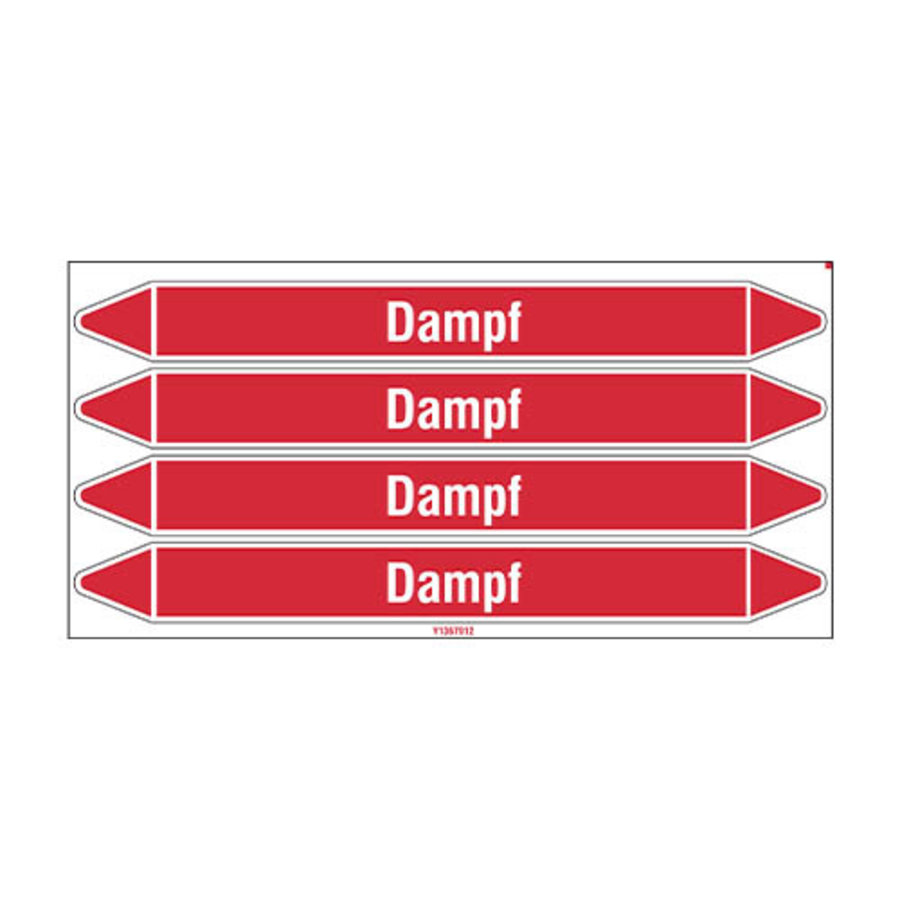 Leidingmerkers: Dampf 12 bar | Duits | Stoom