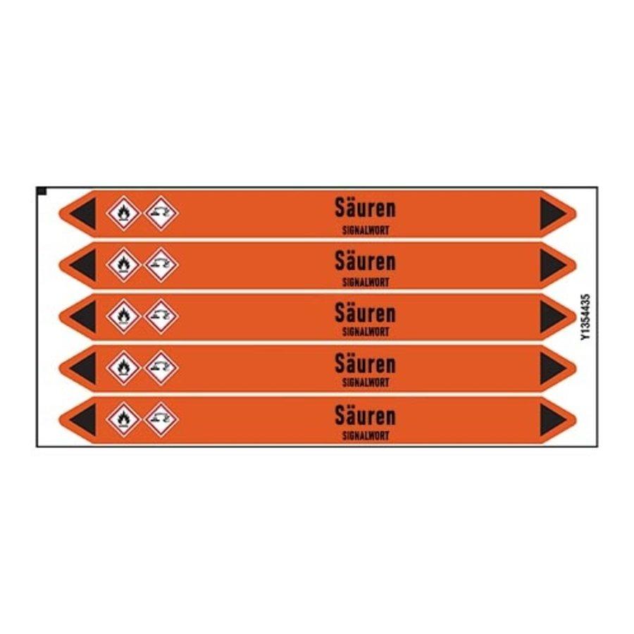 Leidingmerkers: H2SO4 Altsäure | Duits | Zuren