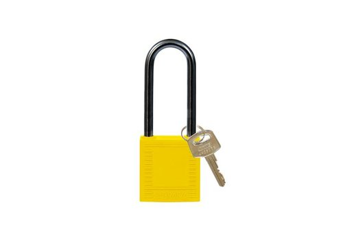 Nylon compact veiligheidshangslot geel 814137